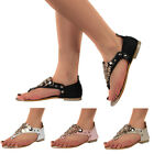 LADIES NEW PU LEATHER WOMENS GOLD DETAIL PARTY FLAT TOE POST SANDALS SIZE 3-8