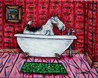 fox wire terrier taking a bath signed dog art print artwork gift