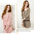New Women Lady Sweet Long Sleeve Crew Neck Casual Knitted Party Loose Mini Dress