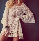 Women Hippie Boho Hollow Sexy Flare Sleeve Gypsy Fringe Lace Mini Dress Tops Q