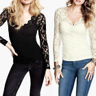 2014 New Sexy Ladies Fashion Lace Long-sleeved V-neck Knit Stitching Shirt Tops