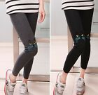 FD479 Women Girl Harajuku Leggings Cute Cat Embroidery Kitty Leggings Pants 1pc