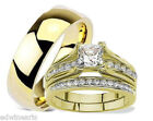 His and Hers Wedding Rings 3 Piece Set Yellow Gold Plated