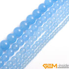 Smooth Round Sky Blue Jade Jewelry Making Loose Gemstone beads strand 15""