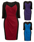 Flattering Ruched V-Neck Pencil Wiggle Dress. RRP: £45. 3 Colours. Sizes 14-32.