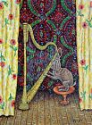 BUNNY rabbit harp 4x6 glossy signed art PRINTS dog animals impressionism artist