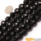 """AA Grade Faceted Black agate Jewelry Making gemstone beads strand 15"""" 32 Faces"""