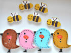 10 20 or 40 Mixed Wooden Birds and Bees Buttons Sewing Scrapbooking Cardmaking