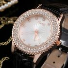 Fashion Women Lady Crystal Rhinestone Leather Band Charm Quartz Wrist Watch Gift