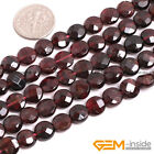 Natural Gemstone Coin Smooth&Faceted Garnet Beads For Jewelry Making Strand 15""