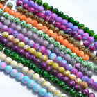 50pcs 8mm Round Chic Glass Loose Spacer Bead Imitation Ceramic Ink Style 20Color