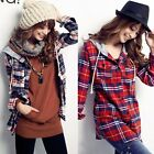 Women's Check Plaids Drawstring Hooded Button Down Shirt Blouse Top New Casual