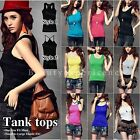 Basic Women's Solid Ribbed Tank Top RacerBack Cami Sleeveless Sports Yoga Tee
