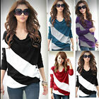 Fashion New Womens Batwing Stripe Top Loose Long Sleeve T-Shirt Blouse 4 Size