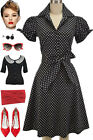 50s Style BLACK POLKA DOT Tie Sleeve Full Skirt Rockabilly PINUP Dress with SASH