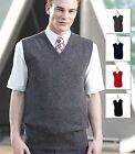 Henbury Mens 100% Lambswool Sleeveless V Neck Sweater Jumper Golf Tank Top New