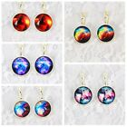 1Pair Universe Photo glass Cabochon Pattern French leverback Dangle Earring
