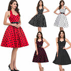 8 type Woman Polka dot Swing Girl 50s pinup Vintage Rockabilly EVENING Dress New