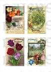 Vintage Seed Packet Collage    Fabric Blocks  14-0208