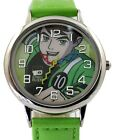 New Green Band Round PNP Shiny Silver Watchcase Children Watch KW040A