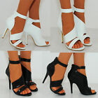 LADIES WOMENS PU LEATHER STRAPPY SANDALS ANKLE CUFF STILETTOS HIGH HEELS CUTOUTS