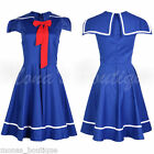 50'S 60'S VINTAGE SWING ROCKABILLY NAUTICAL SAILOR PARTY DRESS BLUE RED  8- 28