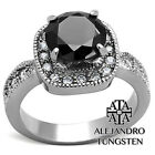 Women Ring's Black Simulated Diamond Stainless Steel Designed Engagement TK1322