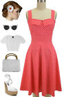 50sStyle PLUS SIZE CORAL with White POLKA DOT Fold Over Bust PEGGY SUE Sun Dress
