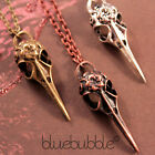 FUNKY VINTAGE CROW SKELETON HEAD NECKLACE GOTHIC EMO STEAM PUNK RAVEN BIRD SKULL