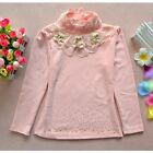 Baby Girl Cotton Bear Lace Sweet Long Sleeve Ruffled Neck Shirts Tops TST097