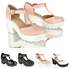 WOMENS LADIES BLOCK HEEL CHUNKY PLATFORM CLEATED T BAR MARY JANE SHOES SIZE