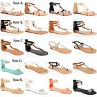 WOMENS LADIES FLAT GLADIATOR DIAMONTE TOE POST SUMMER BEACH HOLIDAY SANDALS SIZE