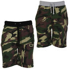 MENS CAMO COTTON SHORTS BOYS ARMY CAMOUFLAGE FLEECE LINED GYM BOTTOMS S M L XL