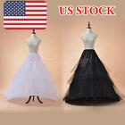 2 Hoop 4 Layer Train Petticoat Wedding Underskirt Crinoline Slips White/Black