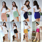 1X Sexy Lady Mix color Casual Solid Elastic Tight Stretch High Waist Mini Skirt