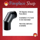 "100, 125 & 150mm elbow for stove flue pipe 4"", 5"" & 6"" matt black"