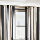 BROADWAY HEAVY EYELET RING TOP CURTAINS.CHARCOAL & GREY COTTON RICH STRIPE