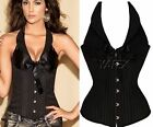 Black steel boned Lace up vertical stripes & Bow Corset tops + G-string S - XXL