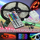 New 5M 5050 RGB LED Strip Light + Power Adapter+ IR Remote Waterproof UK Seller