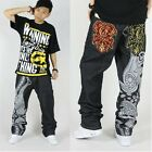 Men Hip Hop Jeans Loose Denim Rap Streetwear skateboard pants Graffiti embroider