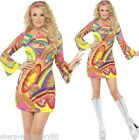 Ladies Sexy Hippie Hippy 1960s 60s 70s Flower Power Fancy Dress Costume Outfit