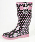 Ladies Polka Dot Designer Welly, Festival, Fun Patterned Girls Welly Size 3-8