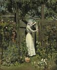"WILLIAM PAGE WELLS ""The Lilac Sunbonnet"" woman FIGURE garden victorian CANVAS"