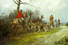 GEORGE WRIGHT Through the Gate COUNTRYSIDE pack hounds horse hunt CANVAS PRINT