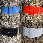 Lady Girl Designer Leather Look Retro Wide Shiny  PU PVC Cinch Waist Buckle Belt
