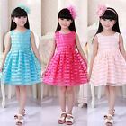 Girl Organza Striped Kid's Dress Lovely Frozen Ball Gown Skirt 3 colors TQL090