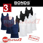 Bonds Mens 3 Pack Chesty Athletic Work Singlets Vest Top White Navy Black Cotton