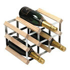 RTA 9 Bottle Wine Champagne Rack 3X2 Natural Pine or Stained Galv Steel NEW