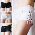Girls New Summer Cotton Stretch Low Waist Cool Sexy Two Side Slit Min Shorts C56