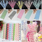 25pcs Striped Paper Drinking Straws Birthday Wedding Party Decoration 10 Colours